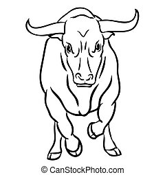 bull on white background