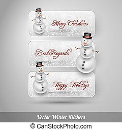 Winter stickers with snowman. Vector design elements