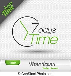 7 Days Icon Vector Design Elements. - Time icon. 7 days...