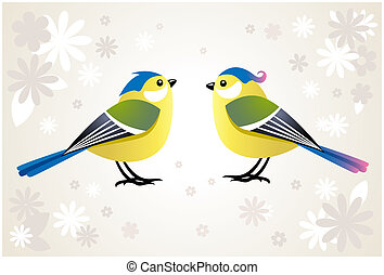 cute stylized birds - pair of cute tit birds on abstract...