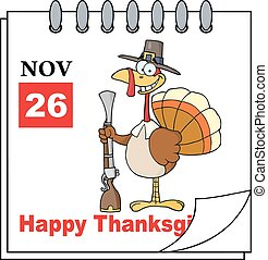 Calendar Page Turkey With Musket - Cartoon Calendar Page...