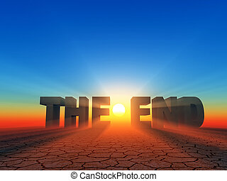 "The end - the word ""the end"" in 3d letters on sunset..."