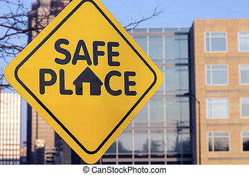 Safe place sign - Safe place sign. Seen in downtown of Des...