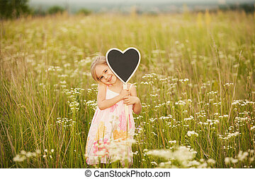Love from little girl on nature