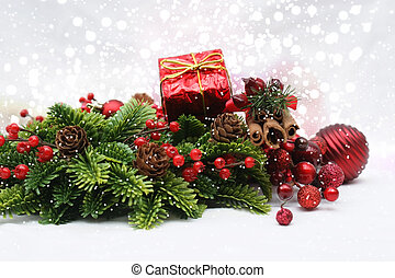 Christmas decorations on bokeh lights background