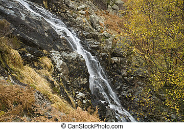 Sour Milk Gill as it falls from the fells near Seathwaite on...