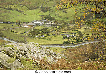 View of Seathwaite Farm from the path to Great Gable, Lake...