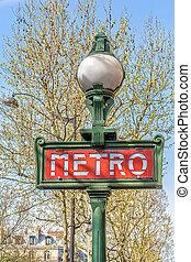 Metropolitain - Retro subway (Metro) sign in Paris