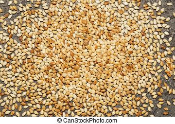 Sesame seed - Roasted sesame seed on a black metal...