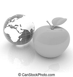 Earth and apple. Global dieting concept