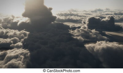 1146 Dramatic High Altitude Clouds Aerial Flight - Great for...