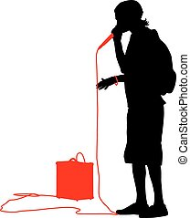 Silhouette of the guy  beatbox with a microphone. Vector illustration.