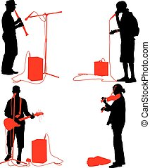 Set  silhouettes  musicians playing musical instruments. Vector illustration.