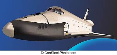 Space shuttle - Space Shuttle flying in space. Vector....