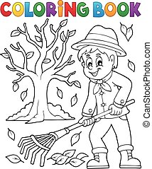 Coloring book gardener and tree