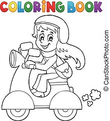 Coloring book girl on motor scooter