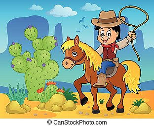 Cowboy on horse theme image 2