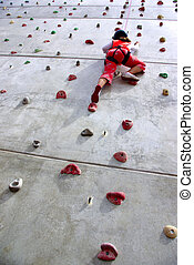 Wall Climbing - Youngsters effort in climbing a wall to...