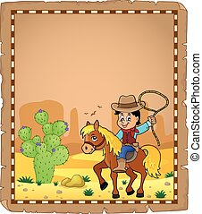 Parchment with cowboy on horse theme 1