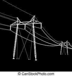 Silhouette of high voltage power lines Vector illustration...