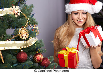 christmas, x-mas, winter, happiness concept, smiling woman...