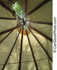 View inside a indian tipi - View of the top of an indian...