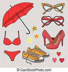 vector set with fashion accessories