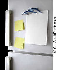 Refrigerator Note - Blank paper and post-it on refrigerator...