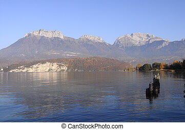Annecy lake landscape in France - Large view of Annecy lake...