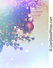 Retro styled Christmas background with bokeh lights