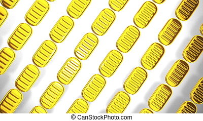 Loop-able Oval Gold Coins On White Background.