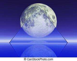 full moon - a transparent triangle shape on full moon...