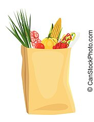 fruits and vegetables in brown grocery bag - assorted fruits...