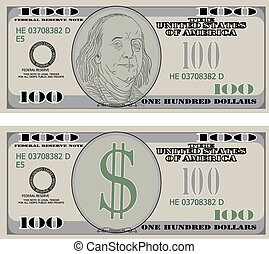 Hundred dollar bank notes. Vector illustration.