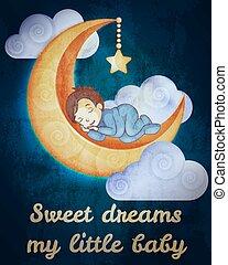 Little boy sleeping on the moon card