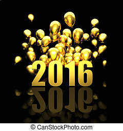 golden 2016 card - 3d image of 2016 and balloon