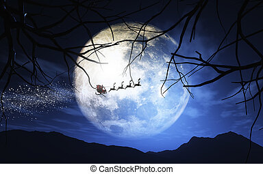 Santa Claus and his sleigh flying in a moonlit sky - 3D...