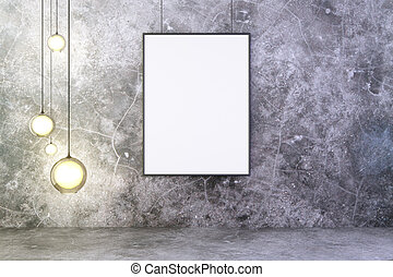 Blank picture frame with lightbulbs on concrete wall, mock up