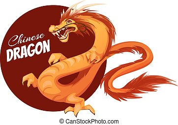 Banner with cartoon Chinese dragon. Vector illustration