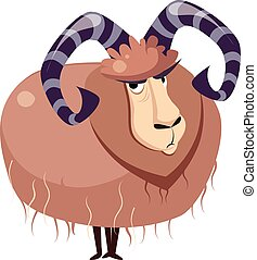 Wool Goat with big Horns Vector Illustration