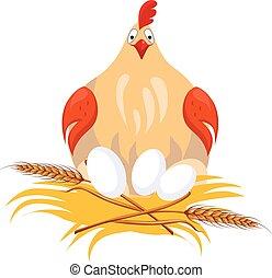 Hen in Nest Sitting on Eggs. Vector Illustration