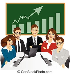 five businesspeople at office - vector illustration of five...