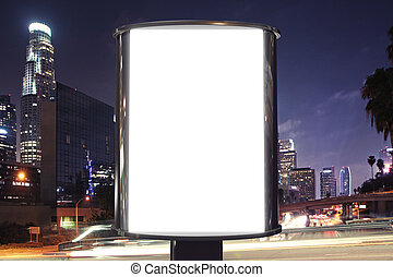 Blank billboard on night street, mock up