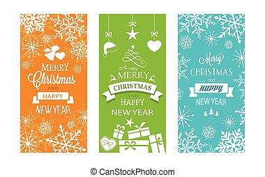 Set of 3 Christmas and Happy New Year labels