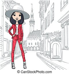 Vector beautiful fashion girl in costume and hat - Beautiful...