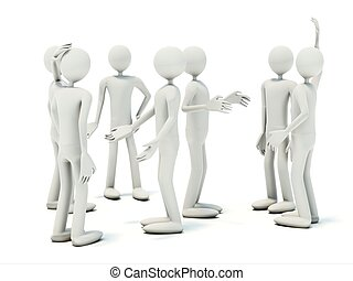 Crowd of the talking mans isolated on white