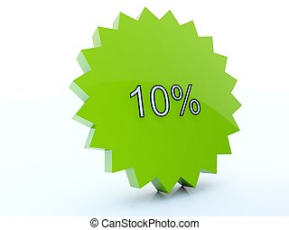 10 percent green sale icon