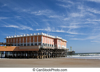 Boardwalk and Pier - Boardwalk pier on the beach in Daytona...