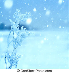 art christmas winter background; snowy landscape