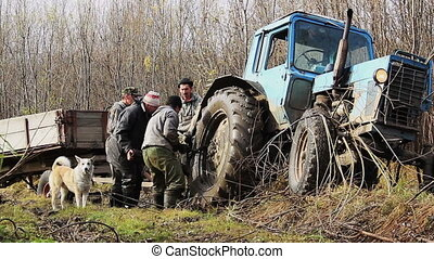 Tractor Stucks In The Mud - tractor got stuck on the roads